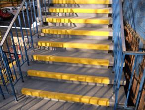 Steps restored with Belzona 4411 (Granogrip) in grey and yellow