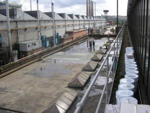 Leaking flat roof at steel manufacturing site