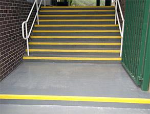 Repair and safety enhancement of concrete step treads