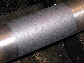 Repaired shaft with Belzona 1131 (Bearing Metal)