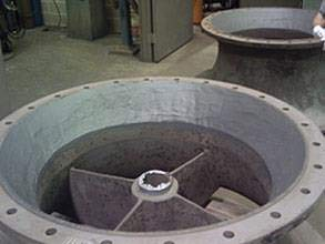 Restored suction bell using Belzona 1311 (Ceramic R-Metal)