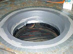 Eroded areas rebuilt with Belzona 1311 (Ceramic R-Metal)