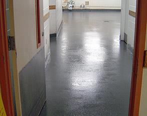 Kitchen washroom floor repaired and protected from deterioration using Belzona 4111 (Magma-Quartz)