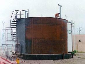 Storage tank suffering from external corrosion