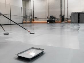 Floor protection at a boat manufacturing facility with Belzona 5233 Grey